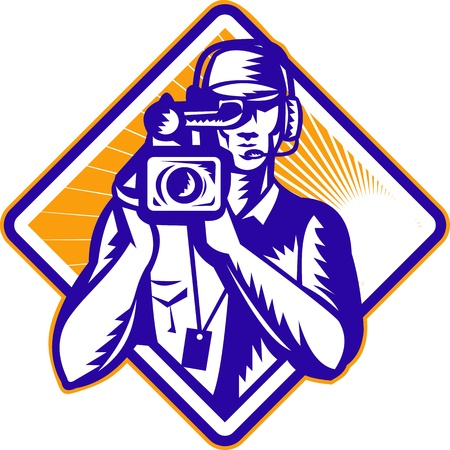 front facing: Illustration of a film crew cameraman with video camera facing front done in retro woodcut style set inside diamond shape