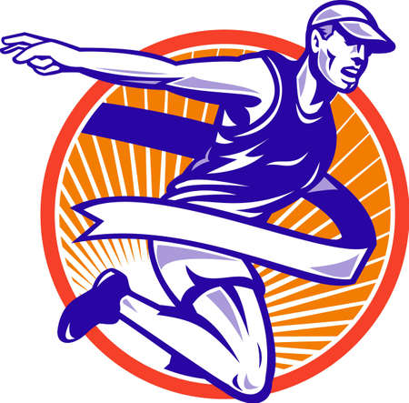 Illustration of a male athlete marathon runner running with finish line ribbon tape set inside circle done in retro style  Illustration