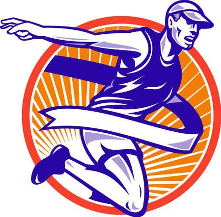 maratón: Ilustrace mužského atlet maratónský běžec běží s čáře stuhou sady pásek uvnitř kruhu provedena v retro stylu Ilustrace