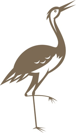 crane bird: Illustration of a crane looking up and forward done in retro style.