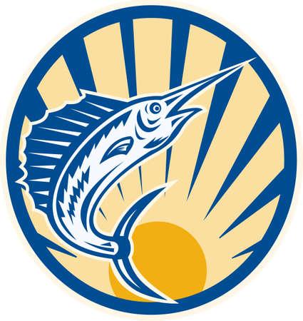 pez espada: Ilustración de un pez marlin azul saltando hecho en estilo retro grabado en madera creado dentro del círculo Vectores