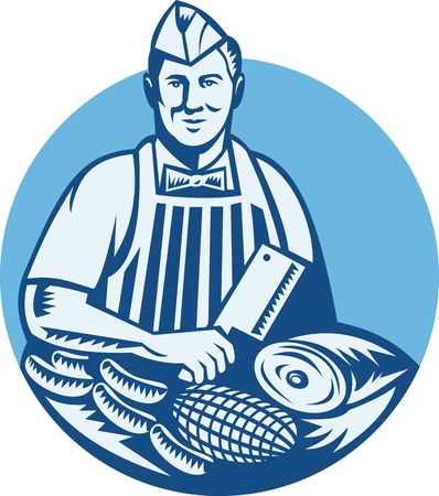 meat knife: Illustration of a butcher with meat cleaver knife, sausages and meat cuts facing front set inside circle done in retro woodcut style