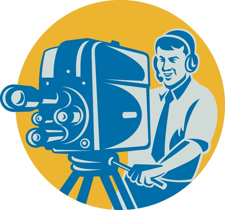 cinematographer: Illustration of a film crew television cameraman shooting with movie camera done in retro style set inside circle