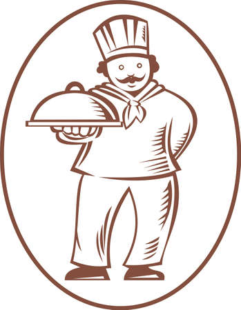 platter: Illustration of a chef cook baker holding a platter dish done in retro woodcut style on isolated white background