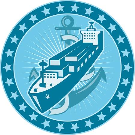 transporteur: Illustration d'un navire de fret fret conteneuris� avec ancre figurant l'int�rieur du cercle d'�toiles tout autour de fait dans le style r�tro