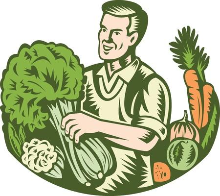 coliflor: Ilustraci�n de un tendero de agricultor org�nico de la cosecha de hoja verde con granja de cultivo de vegetales verdes hecho en estilo retro grabado en madera Vectores
