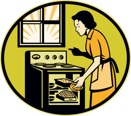 baking dish: Illustration of a housewife woman baker wearing apron baking in stove oven with window done in retro style