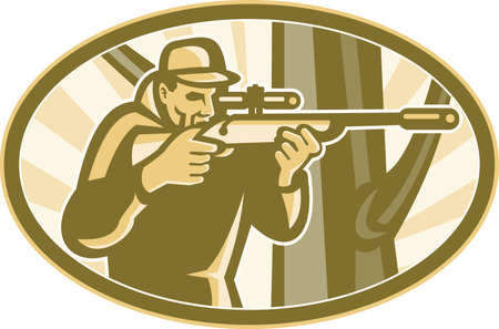 elipse: Illustration of a hunter shooter aiming telescope rifle with tree in background set inside elipse done in retro style  Illustration