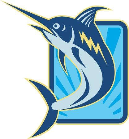 황새치: 레트로 woodcut 스타일을 이루어 블루 말린 점프 물고기의 그림