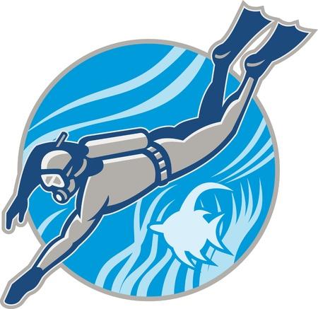 Ilustración de un submarino de buceo Scuba Diver nadar con los peces ángulo establecidos dentro del círculo hecho en estilo retro