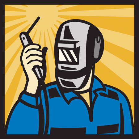 Illustration of a welder holding welding torch with visor facing front set insde square done in retro style  Vector