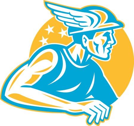 greek god: Ilustraci�n del dios romano Mercurio o Hermes, dios griego con el sombrero de alas visto desde el lado hecho en estilo retro