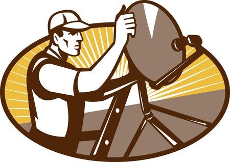 installateur: Illustratie van een handelaar werknemer de installatie van een schotelantenne set binnen driehoek gedaan in retro-stijl Stock Illustratie
