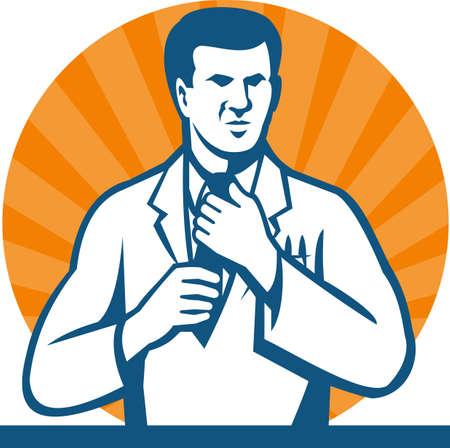 bata blanca: Ilustraci�n de un t�cnico de laboratorio cient�fico investigador llevaba corbata blanca enderezamiento abrigo hecho en estilo retro