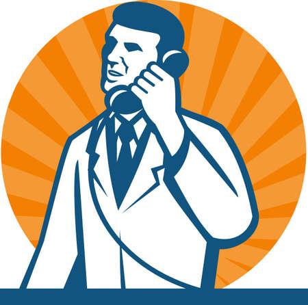 bata de laboratorio: Ilustración de un técnico de laboratorio científico investigador de llevar bata blanca hablando por teléfono hecho en estilo retro Vectores