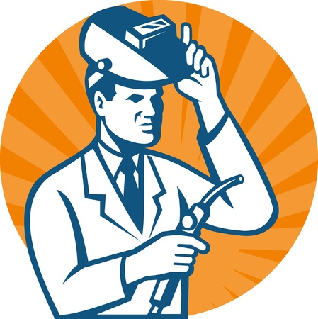 visor: Illustration of a scientist researcher lab technician wearing white coat with welding torch and welder visor done in retro style  Illustration