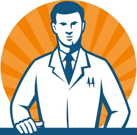 white coat: Illustration of a scientist researcher lab technician wearing white coat with hand on counter facing front done in retro style
