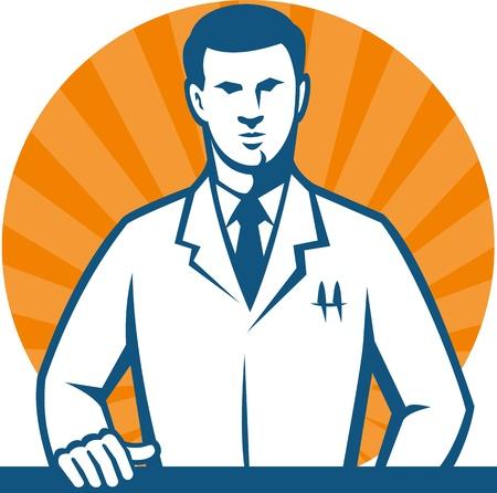 bata de laboratorio: Ilustración de un técnico de laboratorio científico investigador llevaba bata blanca con la mano en el frente contra frente hecho en estilo retro Vectores