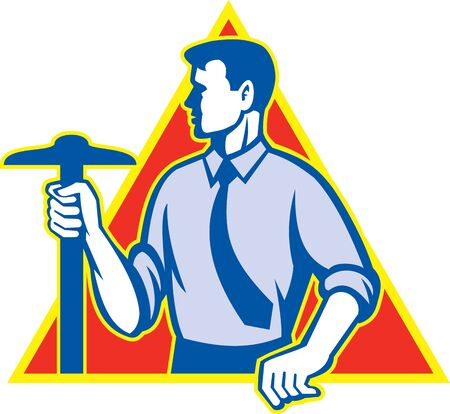 draftsman: Illustration of an architect holding t-square looking to side done in retro style set inside triangle