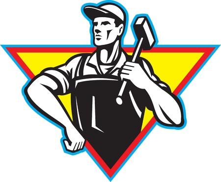 Illustration of a factory worker laborer blacksmith carrying hammer hand on hip viewed from front set inside triangle done in retro style