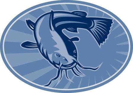bagre: Ilustración de un frente de bagre bagre peces nadando conjunto dentro de elipse hecho en estilo retro grabado en madera