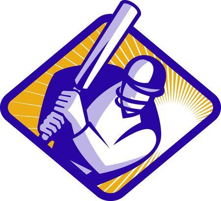 bateo: Jugador de cricket bateador de estilo retro de bateo Vectores