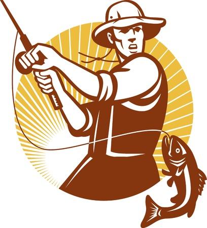 釣り: レトロな木版画のスタイルで行われる円の内側に設定オオクチバスの魚を動揺はえの漁師釣りロッドのイラスト