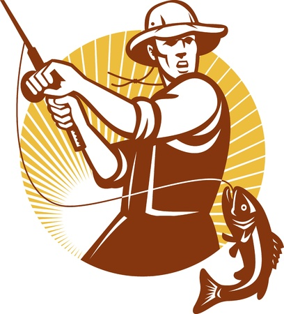 hombre pescando: Ilustración de una barra de pesca con mosca pescador tambaleándose bocazas conjunto bajo de pescado dentro del círculo hecho en estilo retro grabado en madera Vectores