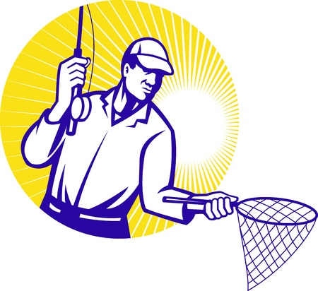 fly fisherman: Illustration of a fly fisherman fishing rod reeling and net set inside circle done in retro woodcut style