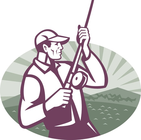 Illustration of a fly fisherman fishing rod reeling viewed from side set inside ellipse done in retro woodcut style  Vector