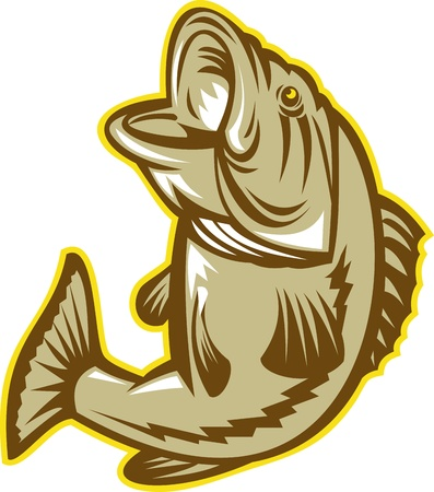 jumping fish: Illustration of a largemouht bass fish jumping done in retro woodcut style on isolated background
