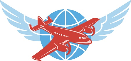 Illustration of a propeller airplane in flight with globe and pair of wings done in retro style  Illustration