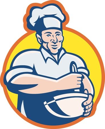 Illustration of a cook chef baker with mixing bowl facing front set inside circle done in retro style  Stock Vector - 12840629