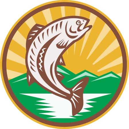 truchas: Ilustración de un pez trucha saltando fijó el círculo interior hecho en estilo retro grabado en madera