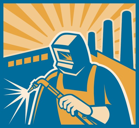 tradesman: Illustration of a welder with welding torch and factory building in background set inside square done in retro woodcut style