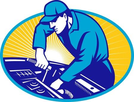 mekanik: Illustration av en bil mekaniker reparera bilen med Hylsnyckelsats inre ellipsen gjort i retro stil