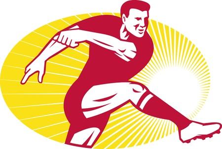 kicking ball: Ilustraci�n de una pelota de pelota de jugador de rugby patear hecho en el conjunto de estilo retro en el interior elipse
