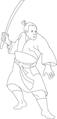 samurai warrior: Illustration of a japanese samurai warrior with katana sword in fighting stance done in black and white cartoon style  Illustration
