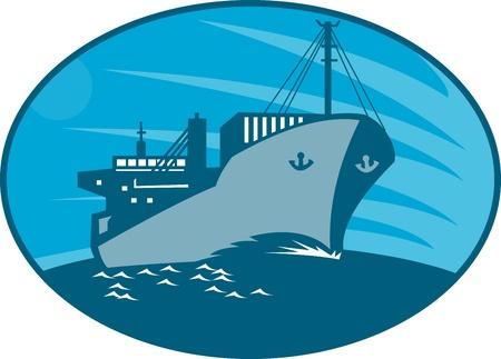 Illustratie van een container vrachtschip schip dat op zee gedaan in retro stijl set binnen ellips