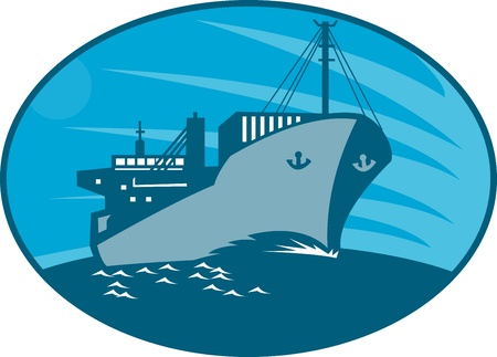 cargo vessel: Illustration of a container cargo freighter ship sailing on sea done in retro style set inside ellipse