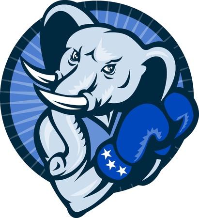 star mascot: Illustration of a cartoon elephant Democrat mascot wearing boxing gloves set inside circle