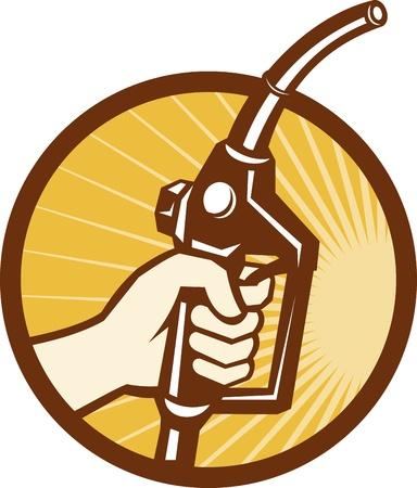 bomba de gasolina: Ilustración de una mano que sostiene una bomba de gasolina gasolina fule boquilla hecho en el conjunto de estilo retro dentro del círculo Vectores