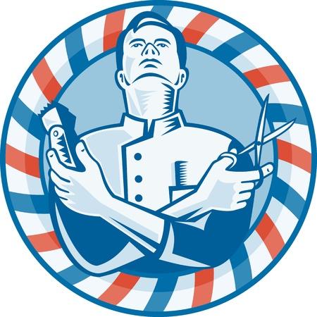 coupe de cheveux homme: Illustration d'un barbier regardant tenant coupe tondeuse � cheveux, ciseaux fix�s l'int�rieur du cercle avec des rayures rouges et bleues dans le style gravure sur bois fait r�tro