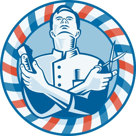 Illustration of a barber looking up holding hair clipper cutter and scissors set inside circle with red and blue stripes done in retro woodcut style  Vector