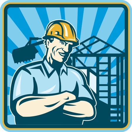 foreman: Illustration of a construction worker engineer supervisor foreman with folded arms and building frame mechanical digger in background done in retro woodcut set inside square