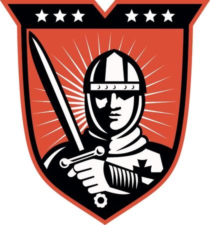 rycerz: Ilustracja rycerza wojownika krzyżowca z długim mieczem ustawić wewnątrz osłony wykonanej w stylu retro