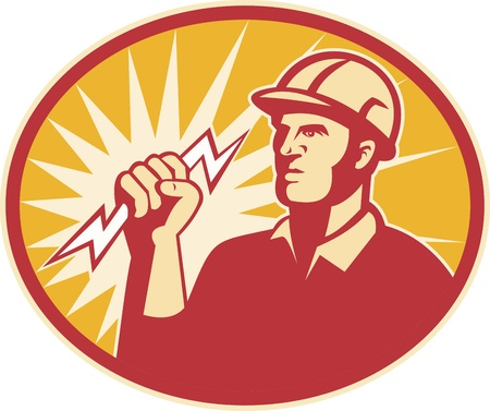 electrician: Illustration of an electrician power lineman lineworker holding lightning bolt done in retro style set inside ellipse