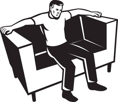 Illustration of a man sitting on sofa couch chair front view done in retro style on isolated background  Vector