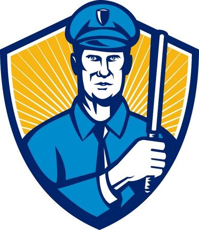 estafette stokje: Illustratie van een politieagent politieagent houdt een stokje naar de voorkant set binnen schild gedaan in retro stijl