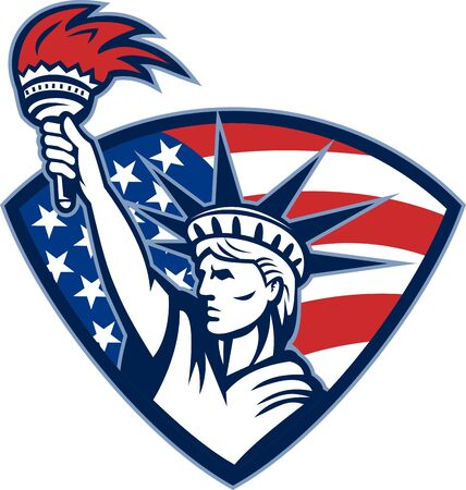 patriot: Illustration of the statue of liberty holding flaming torch set inside shield with American stars and stripes flag